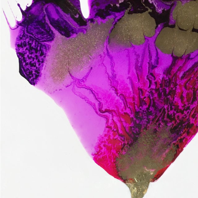 "Abstract ""Purple Transition"" Original Poured Resin Botanical Art For Sale - Image 3 of 3"