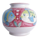 Image of Vintage Italian Tropical Fish Ceramic Pottery Vase For Sale