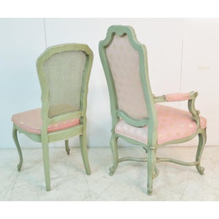 French Style Upholstered Pink and Green Wood Dining Chairs - Set of 6 Preview