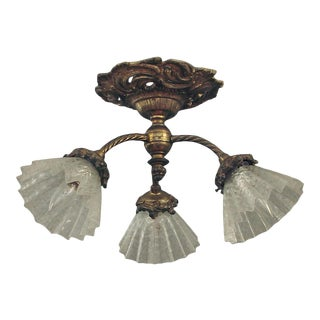 1910 French Gilt-Finish Solid Brass 3-Light Flush Mount Ceiling Fixture For Sale