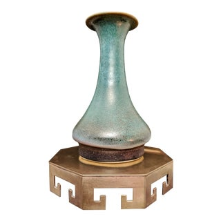 1960s Chinoiserie Brass Pedestal + Pottery Vase For Sale
