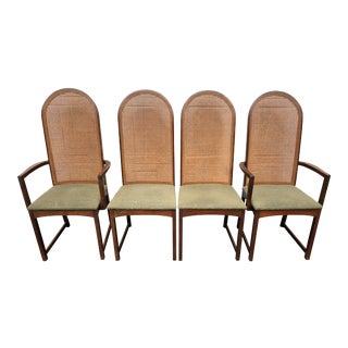 1960s Vintage Milo Baughman Style Caned Dining Chairs - Set of 4 For Sale