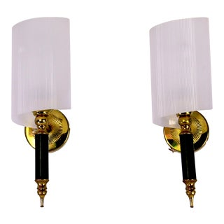 Mid 20th Century Maison Arlus Black & Brass Sconces, France - a Pair For Sale