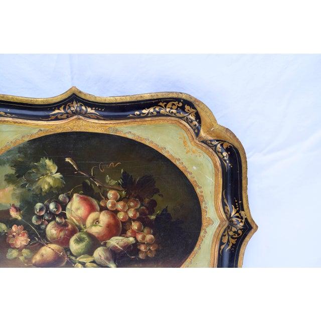 Florentine Gilt Tole Fruits Motif Tray For Sale In Philadelphia - Image 6 of 8