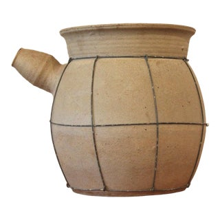 20th Century Japanese Tan Stoneware Cooking Pot - Large For Sale