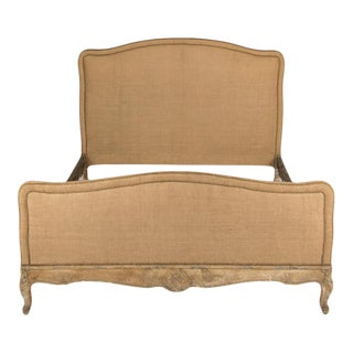 French Louis Xv Style Burlap Queen Size Bed, Cic 1940 For Sale