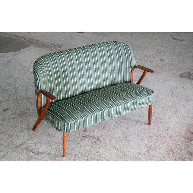 Danish Modern Danish Midcentury Sofa with Teak Armrests in the Style of Kurt Olsen for Bramin For Sale - Image 3 of 9