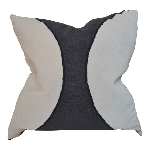 Black and White Eclipse Cutout Pillow For Sale