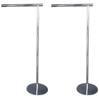 Pair of Chrome Floor Lamps For Sale