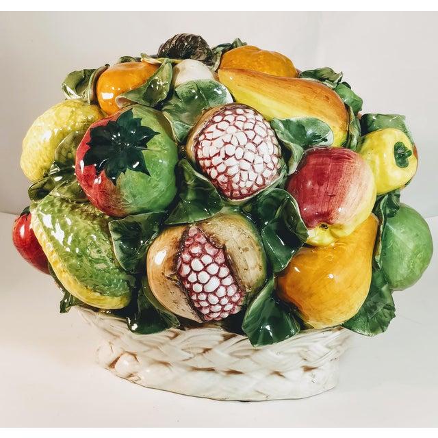 Majolica Vintage Majolica Intrada Italian Ceramic Fruit & Vegetable Oversized Basket Pottery Centerpiece For Sale - Image 4 of 12