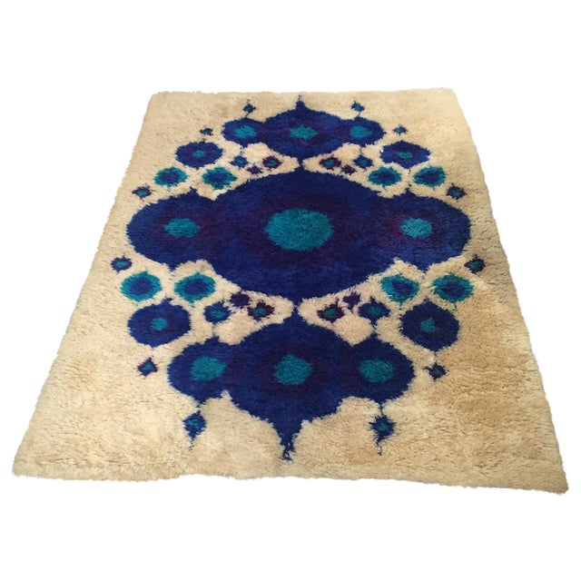 Vintage Swedish Rya Wool Shag Rug - 4′8″ × 6′4″ For Sale