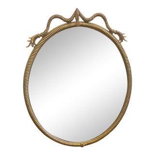Carvers Guild Oval Rope Gilt Wood Mirror - Mid 20th C For Sale