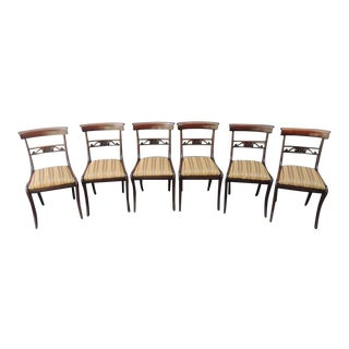 Set of Six Early 19th C English Regency Mahogany Dining Chairs For Sale