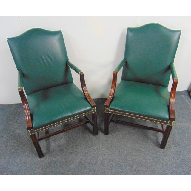 Hickory Chair Furniture Company Hickory Chair Co Mahogany Leather Library Chairs - a Pair For Sale - Image 4 of 9