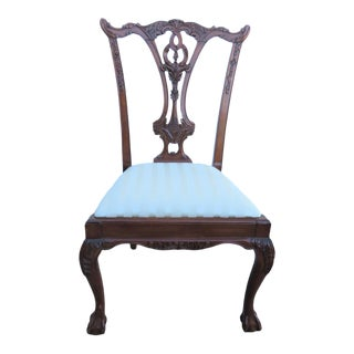 Late 20th Century Chippendale Carved Mahogany Side Chair For Sale