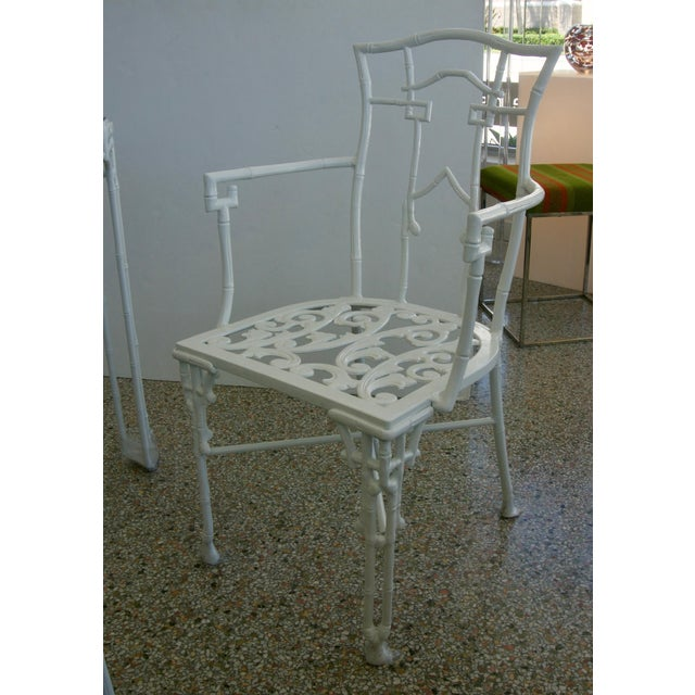 Faux Bamboo Cast Aluminum White Table and Chairs Five-Piece Patio Set For Sale In West Palm - Image 6 of 10