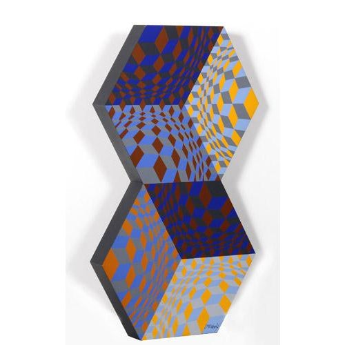 Artist: Victor Vasarely, Hungarian (1908 - 1997) Title: Kettes Year: 1988 Medium: Painted Wood Sculpture, signed and...