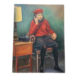 Vintage Mid-Century Portrait Oil Painting For Sale
