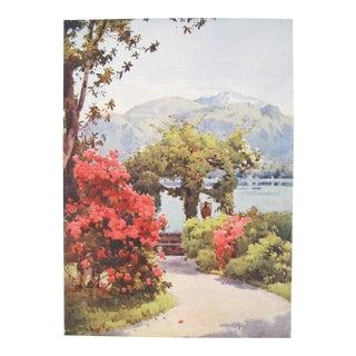 1905 Original Italian Print - Italian Travel Colour Plate - Villa Carlotta, Lago DI Como For Sale