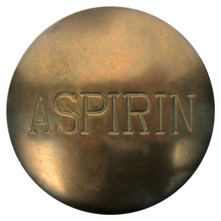 Postmodern 'Aspirin' Brass Pill Box, Ca. 1970s For Sale
