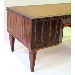A Handsome and Boldly-Scaled French Art Deco Macassar-Veneered Pedestal Desk Preview