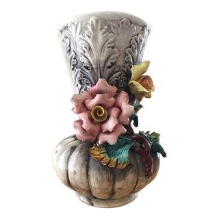 Vintage Capodimonte Italian Porcelain Flower Rose Vase For Sale