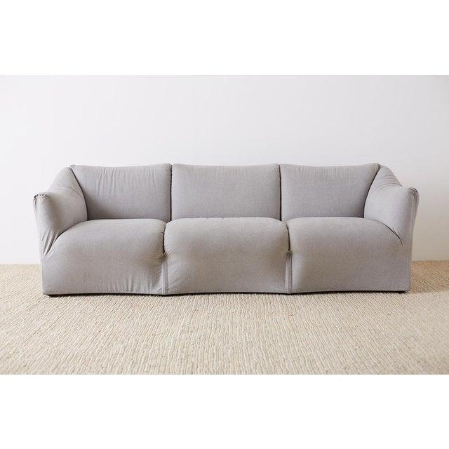 Rare B & B Italia Tentazione upholstered sofa designed by Mario Bellini for Cassina. Features a beautiful grey flannel...