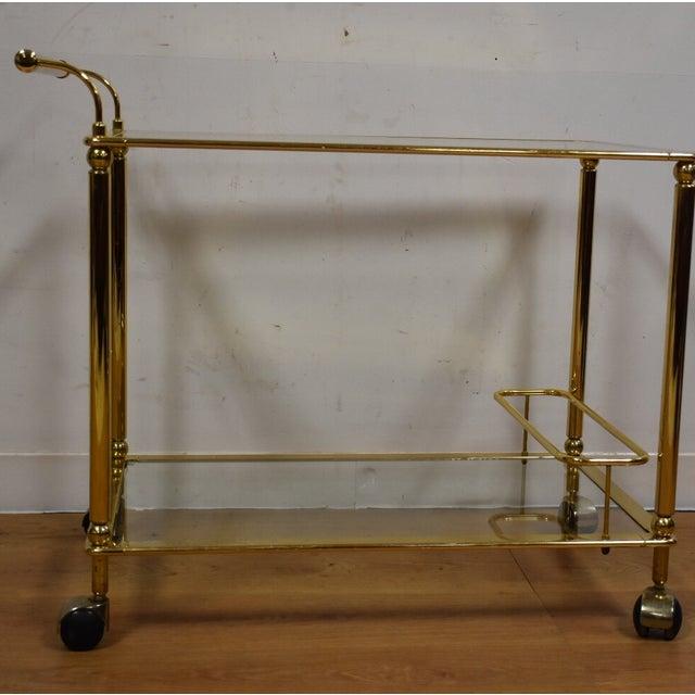 Hollywood Regency Brass Bar Cart - Image 4 of 11