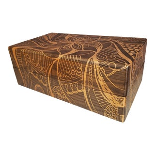 Abstract Stenciled Wooden Tea Box / Storage Chest For Sale