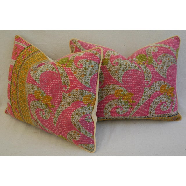 Vintage Kantha Textile Pillows - a Pair For Sale - Image 11 of 11
