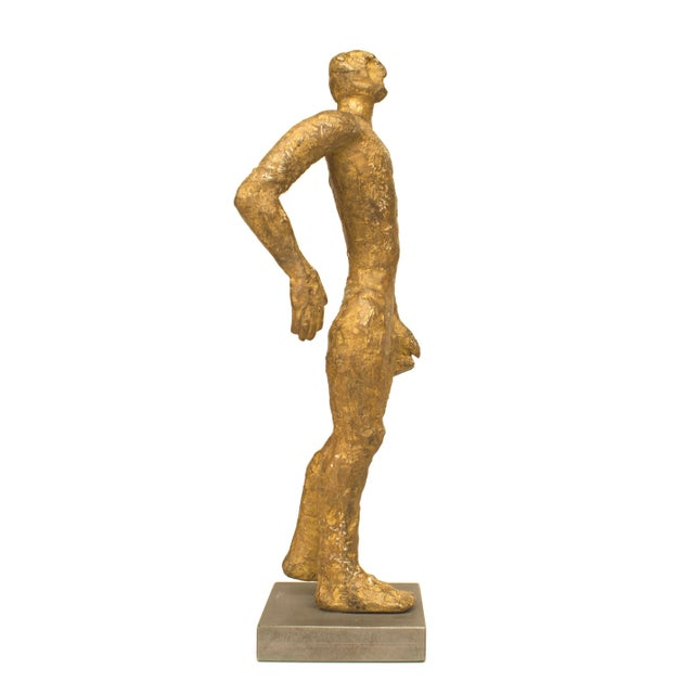 "American Carol Bruns Gold Patinated Bronze ""Exiting Man"" Sculpture C. 2000 For Sale - Image 4 of 6"