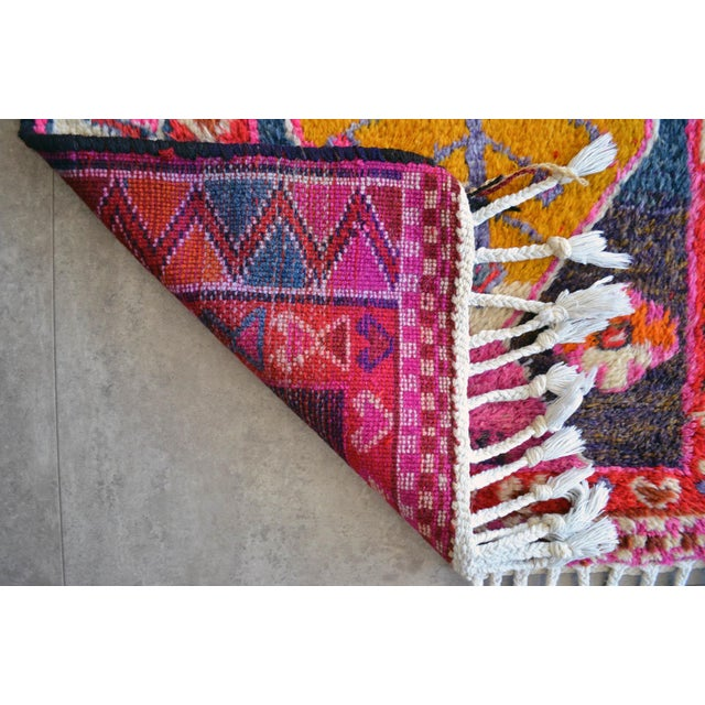 Heterodox Kurdish Runner Herki Rug. Hand-Knotted Colorful Tribal Short Runner - 3′ × 8′10″ For Sale - Image 10 of 11