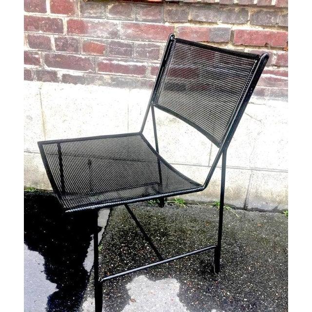 "Contemporary Mathieu Mategot Unique Set of Four Black Metal Chair Models ""Panamera"" For Sale - Image 3 of 8"