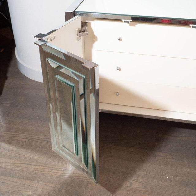 Silver Mid-Century Modern Mirrored and Chrome Sideboard by Ello For Sale - Image 8 of 10