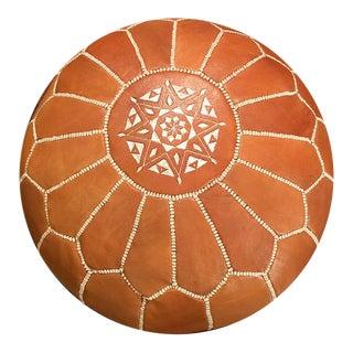 Light Tan Moroccan Pouf Ottoman For Sale