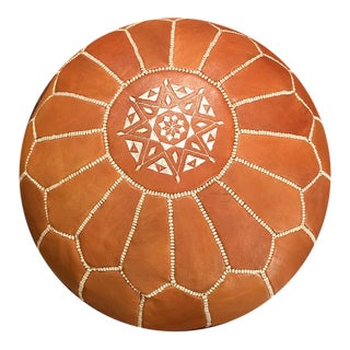 Light Tan Pouf Ottoman by Mpw Plaza (Stuffed), Moroccan Leather Pouf Ottoman For Sale