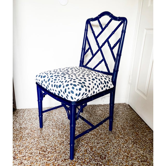 1960s Chinese Chippendale Style Century Furniture Navy Lacquer Faux Bamboo Chair For Sale - Image 13 of 13