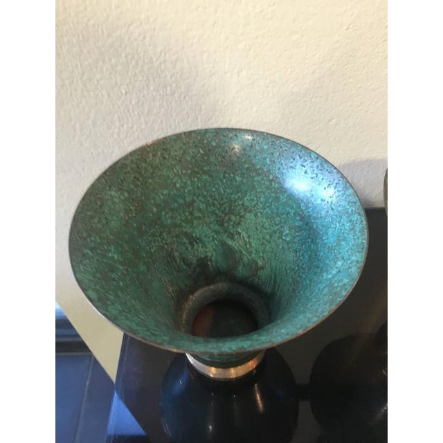 Art Deco Carl Sorensen Verdigris Art Deco Signed Bronze Vases - A Pair For Sale - Image 3 of 5