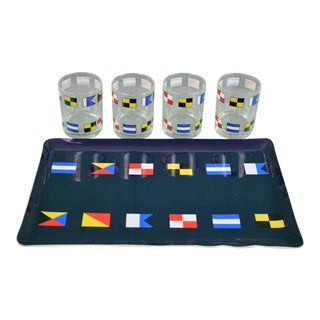 Abercrombie & Fitch Double Old-Fashioned Glasses & Signal Flag Bar Tray - 13 Piece Set For Sale
