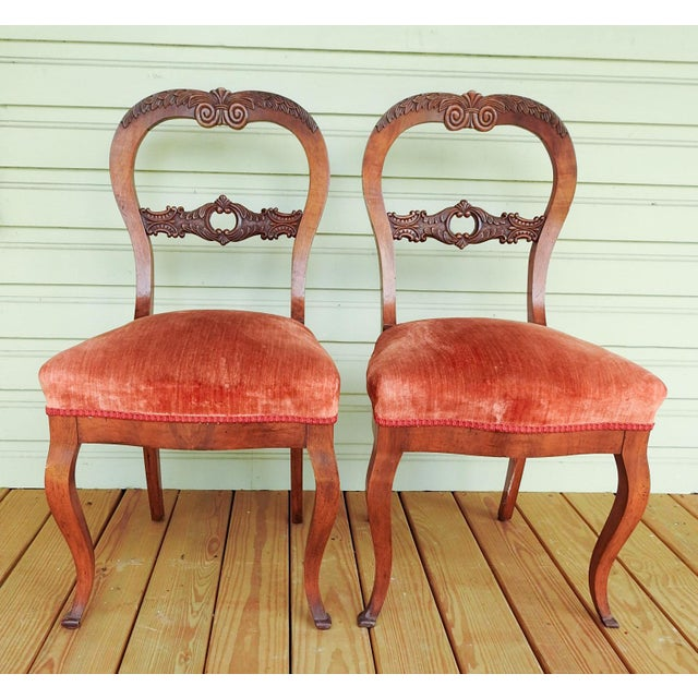 Antique Walnut Hand Carved Velvet Side Chairs - a Pair For Sale - Image 12 of 12