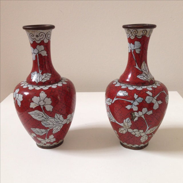 Red Cloisonne Vases - Pair - Image 2 of 11