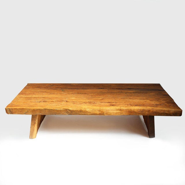 Offered is a rustic reclaimed elm slab coffee table with hand waxed finish. Simple style which works well with modern or...