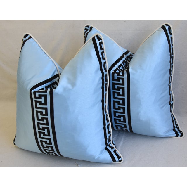 """Blue Blue Dupioni Satin Silk Greek Key Feather/Down Pillows 23"""" Square - Pair For Sale - Image 8 of 13"""