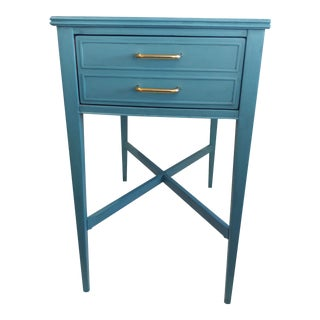 Mid-Century Modern Vintage Blue Mahogany Side Table. For Sale