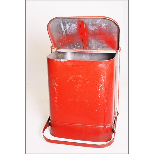 Vintage Industrial Red Metal Trash Can with Flip Top Lid - Image 6 of 11