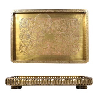 Tray Rectangle Large Heavy Brass Copper Metal Handmade Art Deco Style Lacquered Indian Asian Antique Vintage For Sale