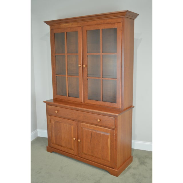 Cherry Wood Woxall Woodcraft Hand Crafted Solid Cherry China Cabinet Hutch For Sale - Image 7 of 12