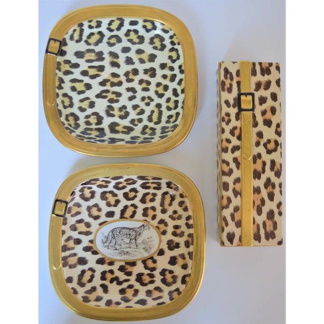 1970s 1970s Vintage Italian Mottahedeh Leopard Ceramic Set - 3 Pieces For Sale - Image 5 of 10
