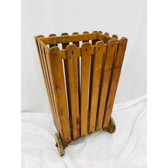 Antique Wooden Slat Rolling Cart For Sale In Raleigh - Image 6 of 8