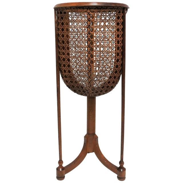 Vintage Wicker Cane Plant Stand For Sale